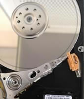 Opened hard disk